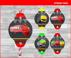 Chuggington Straw Tags Instant download, Chuggington Chalkboard toppers, Chuggington party Straw Tags