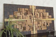 Escultura de pared decoración de pared mosaico madera  #Imarteko. Esta obra está realizada con piezas de #MaderaReciclada. Pincha en la foto para ver más.  It is made with #RecycledWood pieces. #WoodWallArt #Largesculpture. Click on the photo to see more.