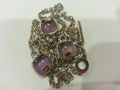 PIANEGONDA-STERLING-SILVER-AMETHYST-LOVE-DROPS-3-CHARM-NECKLACE-17-5-NWT