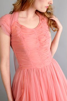 reserved / 1940s 1950s coral pink prom dress by CamilliaHeirloom