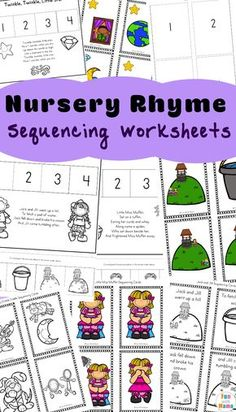 This free collection of 10 different Nursery Rhymes Sequencing Activities can be added to your homeschool, preschool or kindergarten nursery rhyme unit, calendar time or language center. NURSERY RHYMEs SEQUENCING Activities There is a Nursery Rhymes Kindergarten, Free Nursery Rhymes, Rhyming Kindergarten, Nursery Rhyme Theme, Sequencing Activities, Nursery Rhyme Activities, Nursery Rhyme Crafts, Subtraction Kindergarten, Kindergarten Freebies