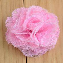 """10 colores hechos a mano 2.55 """" tela de acoplamiento flores para niñas accesorios para el cabello de prendas de vestir apliques de encaje rosa en forma de(China (Mainland))"""