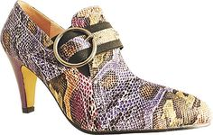 """Bellini Women's Perth Purple Fashion Pumps 13 W. The Perth is a show-stopping bootie with a fierce buckle accent and stretch gore for comfort. Heel height 2 1/2"""", upper snake polyurethane and animal print , buckle ornamentation."""