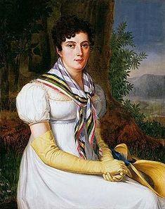 'Retrato de dama sentada con pañuelo y sombrero', by Francisco Lacoma y Fontanet; Spanish, 1816.