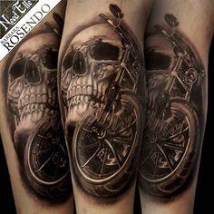Skull & Harley Davidson tattoo by Barbara ROSENDO Tatouage tête de mort et moto par Barbara ROSENDO NEED ELLE Tattoo Shop Lille (France)