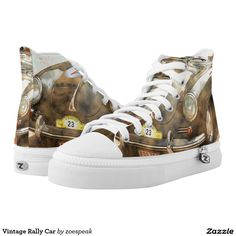 Vintage Rally Car, Printed High Top Shoes from ZoeSPEAK.