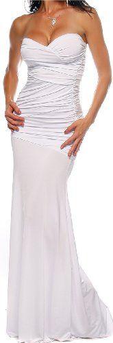 Designer White Strapless Long Evening Formal Dress from Hot from Hollywood. #weddingideas #want  Wedding