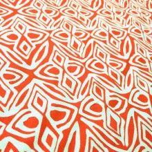 """Tissu de coton motif éthnique """"Bandama"""" - orange et blanc"""