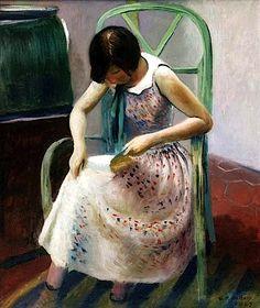 Girl Reading a Book Guy Pene du Bois - 1929