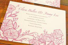 Pink Wedding Invitation  Design by Kalo Make Art  http://www.etsy.com/shop/KaloMakeArt