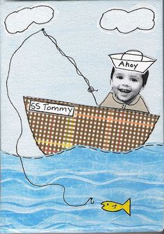 mixed media boat and fisherbaby Summer Crafts, Fun Crafts, Crafts For Kids, Arts And Crafts, Summer Daycare, Summer Kids, Summer Activities, Preschool Activities, Group Art Projects