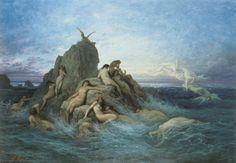 Les Océanides (Les Naiades de la mer), Oil by Gustave Doré (1832-1883, France)