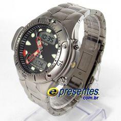 c214434e1a4 JP1060-52E Relógio Citizen Aqualand II Profundímetro e Alarmes Relógios  Citizen