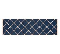 Dot 'N Dash Recycled Yarn Indoor/Outdoor Rug, 2.5x9', Indigo