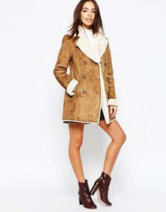 Image 4 of New Look Bonded Faux Sheepskin Coat