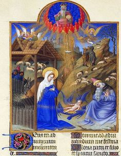 Duc de Berry Hours Illuminated Nativity c. 1414 - 1440