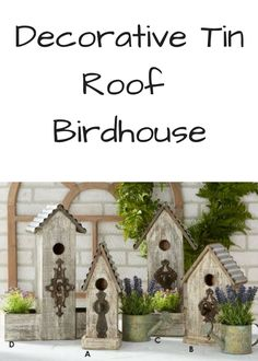 This sweet and charming Decorative Tin Roof Birdhouse will be a delightful extension of your vintage inspired interior design. 4 different styles, including 2 with planters, so choose one or more of these birdhouses to add a touch of nature to your decor! #decor #porch #mantle #farmhouse #affiliate