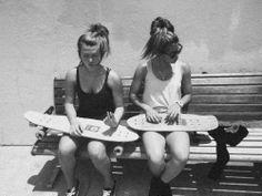 summer, skateboards, sisters