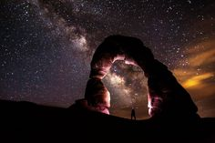Man with headlamp stands under awesome night sky, Arches National Park, (By NPS) - SUNDAY MEDITATION!