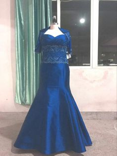 Style C2016-RW0316 – Blue Plus size Evening Gown with Jacket