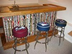 DIY man bench upcycled hockey sticks Perfect for a man cave