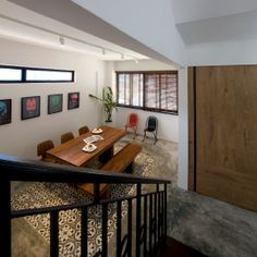 RAW CEMENT FLOOR WITH THE ACCENT OF PERANAKAN CEMENT TILES CREATE A COSY AMBIENT FOR DINING & PLACE FOR HANG OUT