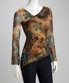 Take a look at this ANAC Brown Floral Top by Blue Plate & ANAC on #zulily today!