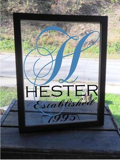 Double Floating Glass Frame with Beautiful Monogram and Established Date Silhouette Vinyl, Silhouette Cameo Projects, Silhouette Design, Vinyl Crafts, Vinyl Projects, Craft Projects, Shilouette Cameo, Cricut Creations, Craft Gifts