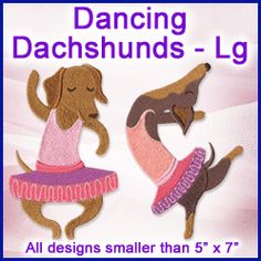 A Dancing Dachshunds Design Pack - Lg design (X11439) from www.Emblibrary.com