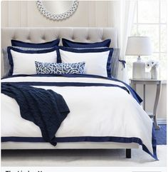Navy Bedding from Crane & Canopy. Our collection of designer navy bedding features the highest-quality cotton, woven in a silky soft weave. White Bedroom, Bedroom Decor, Blue Bedroom Decor, Navy Blue Duvet Cover, Bedroom Inspirations, Navy Blue Bedrooms, White Bedroom Design, Bedroom Design, Blue Bedroom