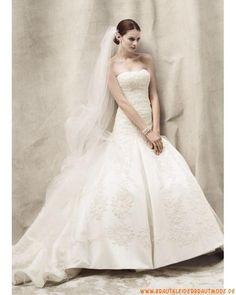 2013 Neue Elegante Brautkleider aus Satin A-Linie mit Schleppe Stickerei verziert
