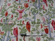 Alexander Henry Holiday Hoot Owl Quilt Fabric 1/2 yd by bethage, $5.00