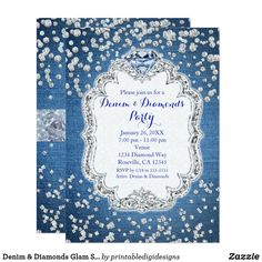 Shop Denim & Diamonds Glam Scattered Bling Invitations created by printabledigidesigns. Personalize it with photos & text or purchase as is! Bling Invitations, Paris Invitations, 60th Birthday Invitations, Engagement Party Invitations, Custom Invitations, Invitation Ideas, 40th Birthday, Shower Invitations, Happy Birthday