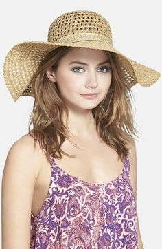 WHITE, TOO* $28  Hinge Open Weave Floppy Straw Hat available at #Nordstrom