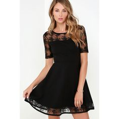 Black Swan Clarice Black Dress ($83) via Polyvore featuring dresses, black, black flared skirt, black cocktail dresses, sexy cocktail dresses, short sleeve black dress and sexy lace dresses