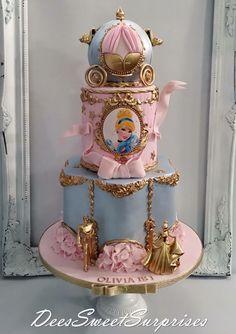 Disney Princess Birthday Cakes, 1st Birthday Cakes, Cinderella Birthday, Princess Cakes, Carriage Cake, Bolo Mickey, Disney Cakes, Girl Cakes, Cute Cakes