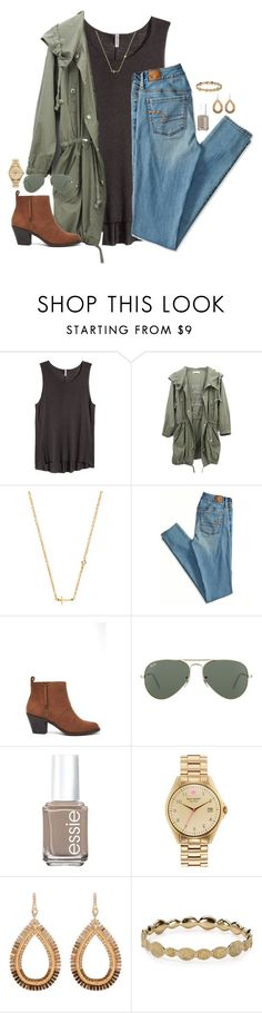 """read d!"" by kaley-ii ❤ liked on Polyvore featuring H&M, Sydney Evan, American Eagle Outfitters, Forever 21, Ray-Ban, Essie, Kate Spade, Henri Bendel and Melinda Maria"