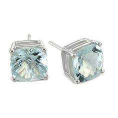 Checkerboard Cushion Cut Aquamarine earrings