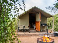 Whether you're looking for a romantic break or an affordable getaway, these 12 tented camps are just what you need for an ultimate, no-fuss nature escape. Backyard Cabin, Tent Living, Romantic Breaks, Campsite, South Africa, Travel Destinations, Outdoor Decor, Zimbabwe, Travel Stuff