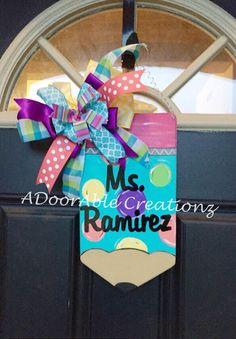 Pencil Door Hanger, Polka Dot Pencil Door Hanger, Teacher Door Hanger, Teacher Gift, Teacher Appreciation Gift by ADoorAbleCreationz on Etsy https://www.etsy.com/listing/234777866/pencil-door-hanger-polka-dot-pencil-door
