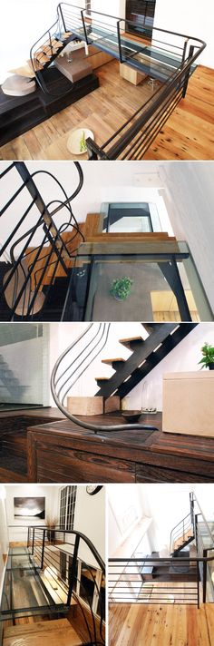 Nice steel, glass and wood stair detail in a Manhattan apartment by Serett Architectural Metal Work & Blacksmithing, Brooklyn NY