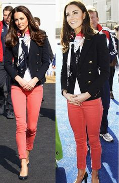 Kate Middleton - coral jeans, navy blazer. Love this look! Can we be best friends so I can borrow your clothes!? :)!