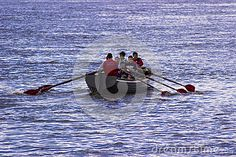 Rowing by the boat