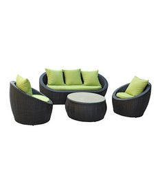 Take a look at this Brown & Avocado Avo Four-Piece Sofa Set by Modway on #zulily today!  $1200 !!
