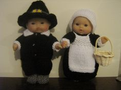 """Pilgrim outfits for 5"""" Berenguer dolls, made for a customer in the USA"""