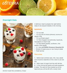 Overnight oats with doTERRA Cinnamon essential oil