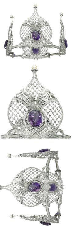 AN AMETHYST AND DIAMOND TIARA Composed of four lattice design openwork palmettes with diamond detail and cultured pearl surmount, each centering upon an oval-shaped amethyst, to the pavé-set diamond scrolling base and line bandeau, inner circumference 44.5 cm