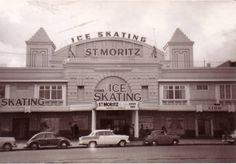 St Moritz Ice Skating Rink - demolished - St Kilda Esplanade, 1960 I spent many happy hours there. Melbourne Victoria, Victoria Australia, Melbourne Australia, Melbourne Art, St Kilda, Rock Pools, Largest Countries, Luxor Egypt, Historical Pictures