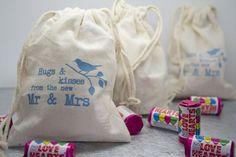 'Hugs and Kisses' Fairtrade Cotton Pouch - Wedding in a Teacup Sweet Wedding Favors, Wedding Ideas, Wedding Planning, Wedding Inspiration, Wedding Stuff, Wedding Invitations, Kids Hugging, Honey Favors, Bird Theme
