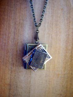 Random  -Stack of Books - the book lovers locket necklace - 3 vintage brass lockets -